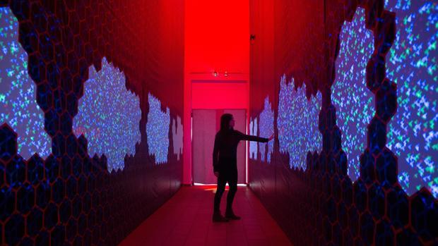 Una visitante recorre una de las instalaciones de la exposición