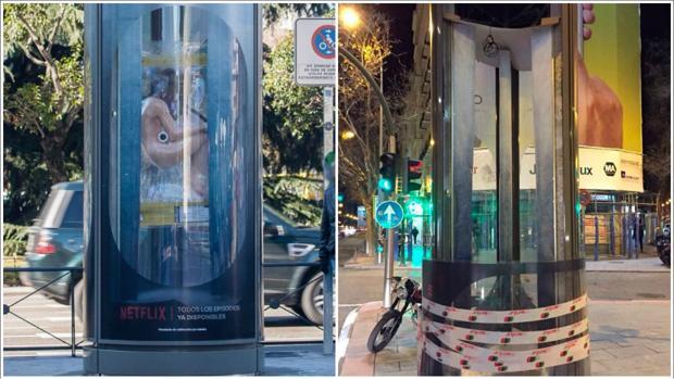 A la dcha. una de las estructuras publicitarias con el cuerpo; a la izda., otra vacía tras el robo