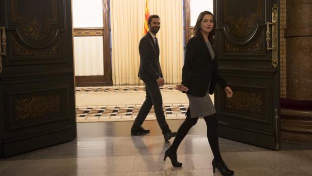 Inés Arrimadas, tras reunirse con Roger Torrent, el 19 de enero
