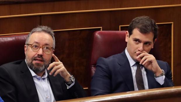 El presidente de Ciudadanos, Albert Rivera, este miércoles en el Congreso de los Diputados