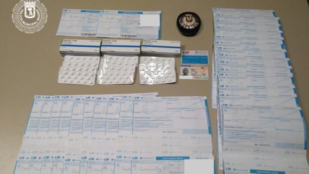 Las recetas supuestamente robadas y las pastillas incautadas
