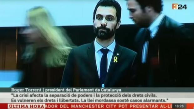 El presidente del Parlamento catalán, Roger Torrent, ayer en el Icab