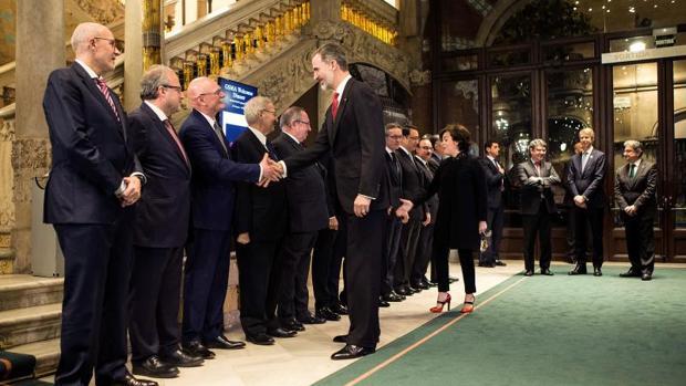 Don Felipe, a su llegada al Palau de la Música