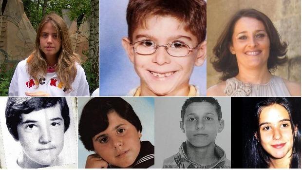 Marta del Castillo, Yéremi Vargas, Sonia Iglesias, David Guerrero, conocido como «el niño pintor», Juan Pedro Martínez, Josué Monge y Cristina Bergua