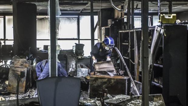 Estado en el que quedaron dependencias judiciales en Valencia tras el incendio