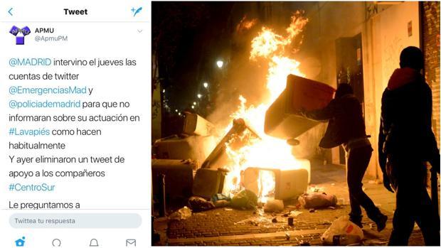 La denuncia de APMU en redes sociales; a la dcha., una barricada en Lavapiés