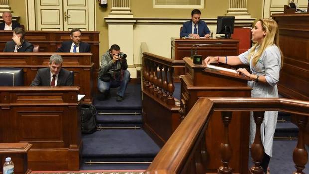 Noemí Santana, portavoz parlamentaria de Podemos, este miércoles en la Cámara