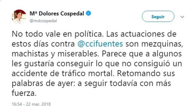Cospedal cree que «algunos» críticos de Cifuentes desean su muerte