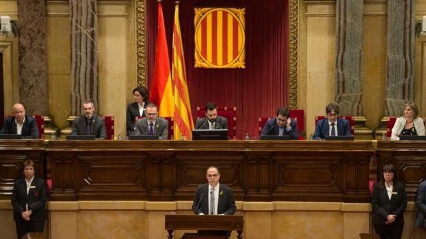 Jordi Turull, el jueves, durante su discurso de investidura en el Parlament de Cataluña