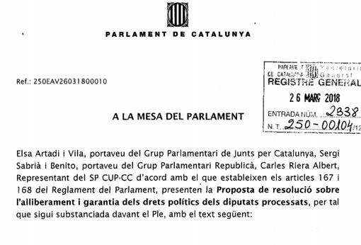Extracto del texto de los partidos independentistas