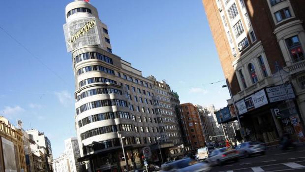 El famoso edificio Capitol, en la Gran Vía de Madrid