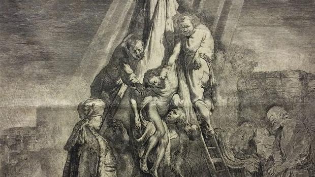 Grabado de Rembrandt perteneciente a la colección del Museo Lázaro Galdiano
