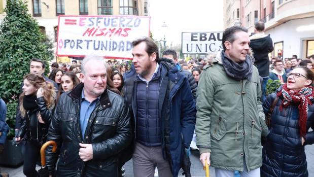 Representantes del PSOE en la manifestación del pasado marzo en Valladolid a favor de la EBAU única