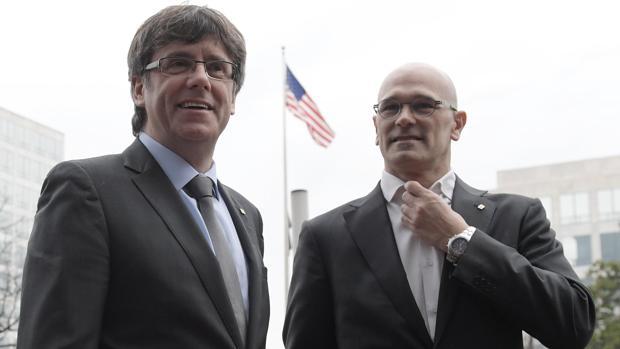 Puigdemont y Romeva, en una visita oficial del «Govern» a Estados Unidos en marzo de 2017