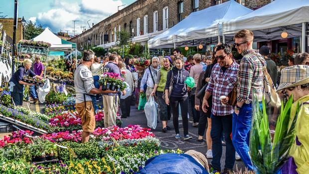 Imagen del mercado de flores de Amsterdam