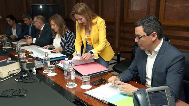 Rosa Dávila (c.) en el Consejo de Gobierno de este lunes