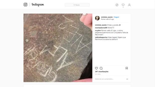 Publicación en Instagram de la estudiante italiana