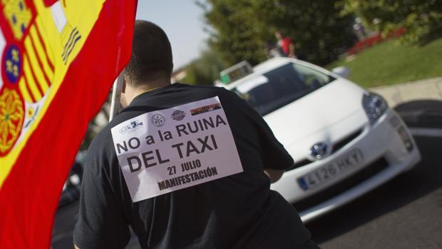 Un taxista, durante una protesta reciente en Madrid