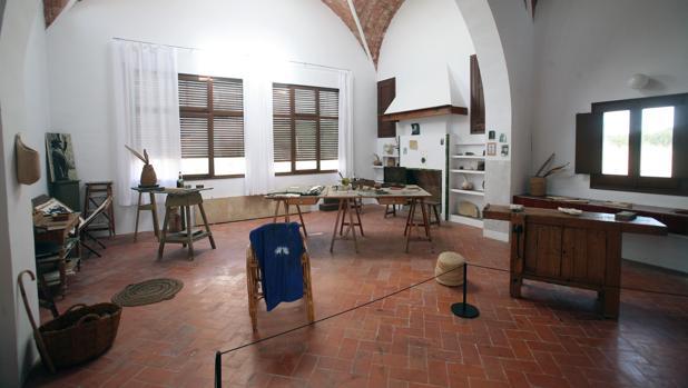 Vista del estudio tal y como Miró lo dejó en 1976