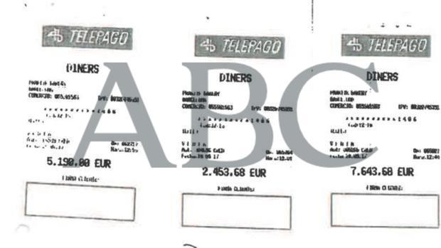 Algunos de los recibos de la tarjeta de crédito de Diplocat