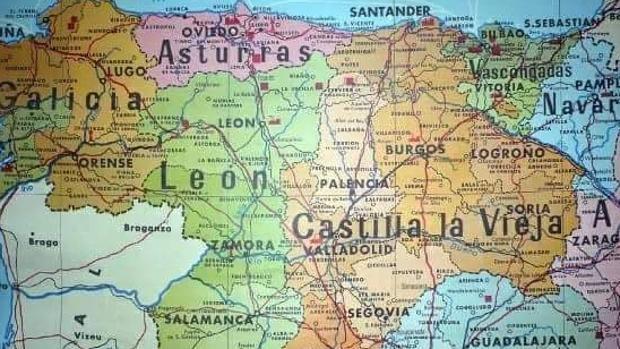 Detalle de un mapa de España previo al del Estado de las Autonomías