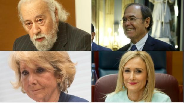Presidentes del PP de Madrid: Arriba, Luis Eduardo Cortés (izq.) y Pío García-Escudero. Abajo, Esperanza Aguirre (Izq.) y Cristina Cifuentes