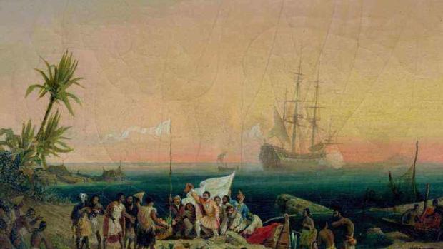 Jean de Bethencourt descubriendo Canarias en 1402 en un óleo sobre lienzo de 1848 Ambroise-Louis Garneray