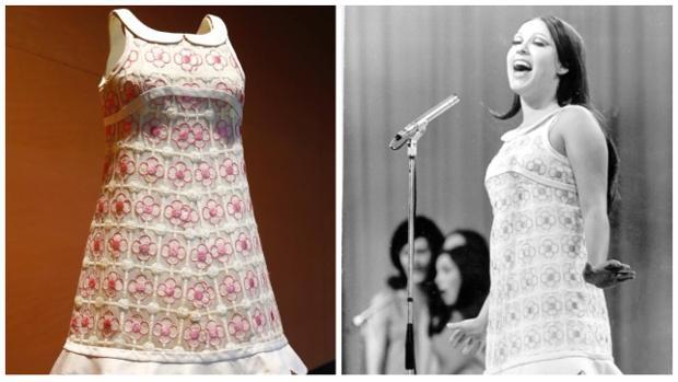 El vestido en el Museo del Traje y la cantante en un momeno de su actuación el 6 de abril de 1968