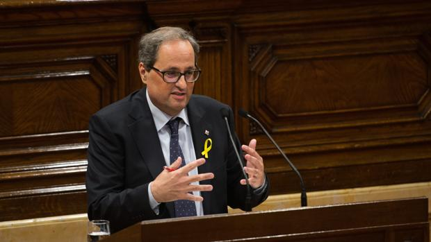El nuevo presidente de la Generalitat, Quim Torra, en el Parlamento catalán