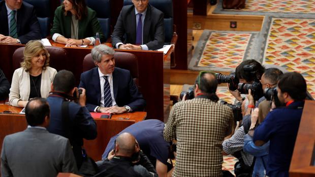 Ángel Garrido, candidato a presidir la Comunidad de Madrid, a su llegada al pleno de investidura