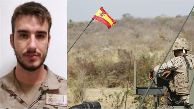 El soldado de Infantería de Marina Antonio Carrero Jiménez (izd). Blindado del ejército desplegado en Malí