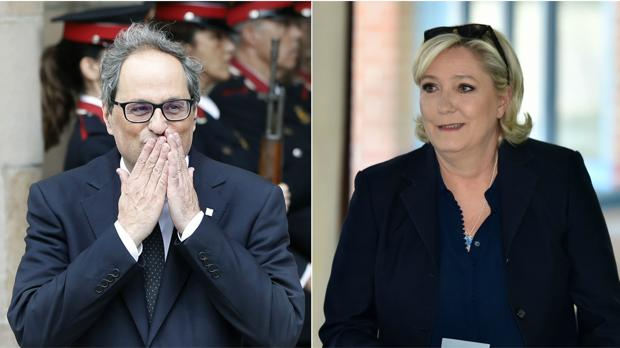 Quim Torra (izd.) y Marie Le Pen (dcha.)