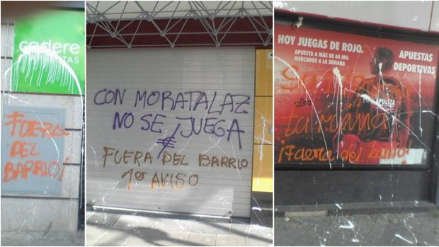 Varias de las pintadas que han aparecido en los locales de apuestas de Moratalaz