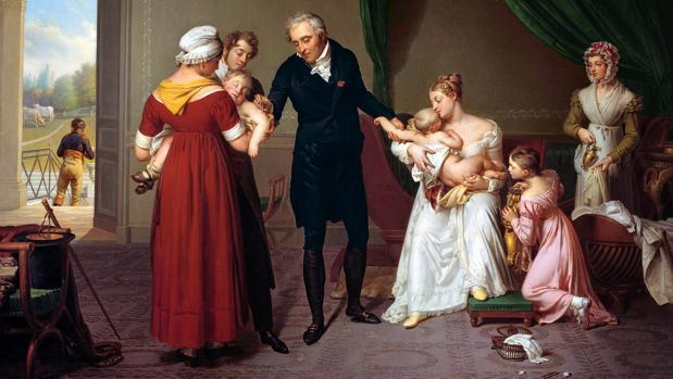 Óleo de Constant Desbordes, de 1820, en el que se representa al médico Jean Louis Alibert vacunando según los pasos de Edward Jenner