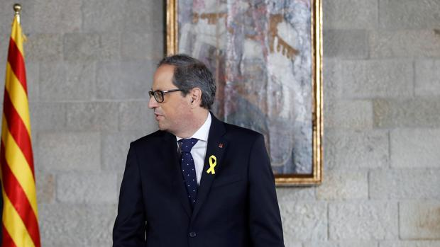 El presidente catalán Quim Torra, en el Palau de la Generalitat durante su toma de posesión