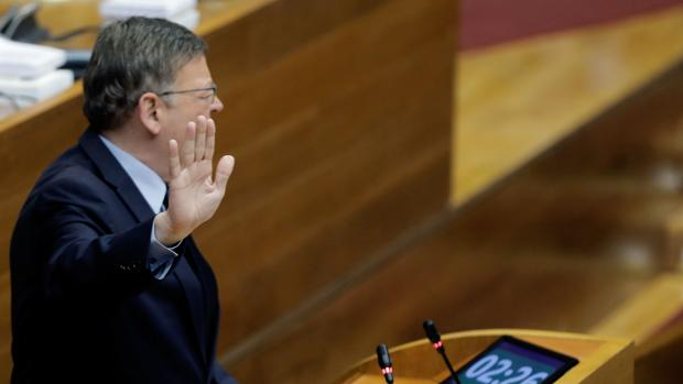 Imagen del presidente de la Generalitat, Ximo Puig, tomada este jueves en las Cortes Valencianas
