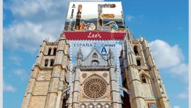 Imagen de los dos sellos dedicados a León