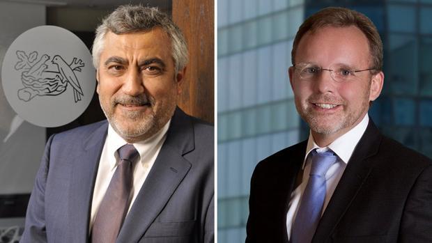 Laurent Dereux, hasta final de mes director de Nestlé para España y Portugal, y a la derecha, su relevo, Jacques Reber,