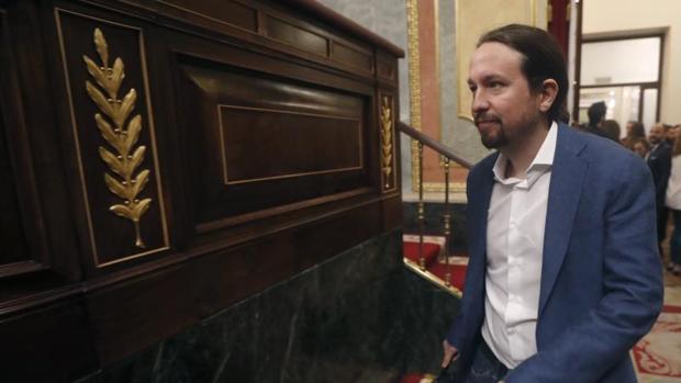 El secretario general de Podemos, Pablo Iglesias, en el Congreso de los Diputados