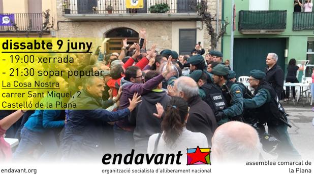 Cartel anunciador de la charla de los independentistas