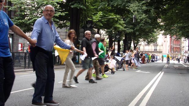 La cadena humana, a su paso por Bilbao