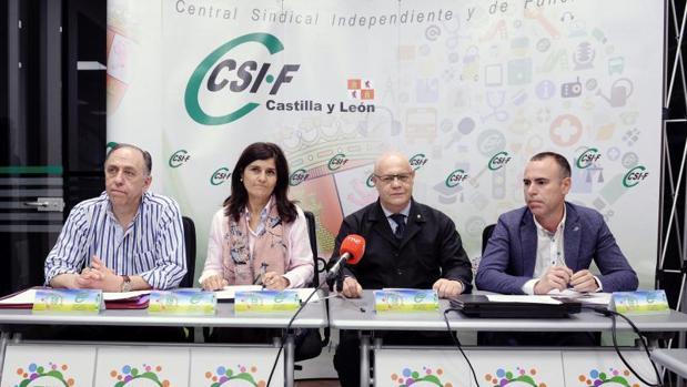 Representantes del sindicato CSIF durante la rueda de prensa en la que han anunciado movilizaciones contra la Junta de Castilla y León