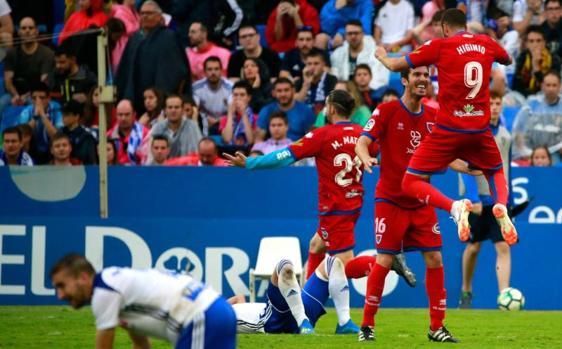 Los jugadores del Numancia celebran el pase a la final del Play Off de ascenso