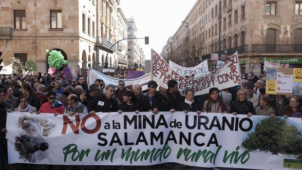 Manifestación el pasado febrero contra la mina de uranio de Retortillo