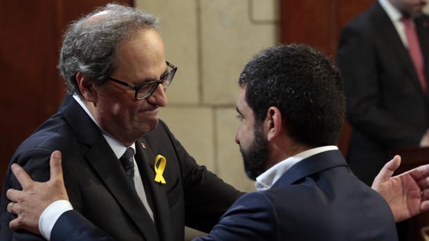 El consejero de Trabajo con el presidente catalán Quim Torra