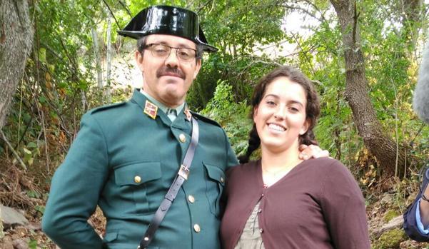Fernando García Linares y su hija Teresa García Serrano, en el rodaje de la película en Cantabria