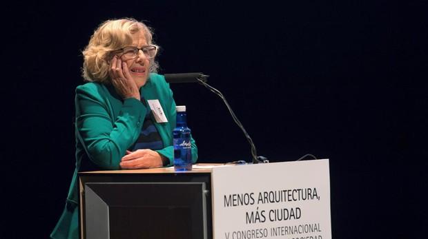 Carmena, ayer, durante su intervención en el acto de apertura del V Congreso Internacional Arquitectura
