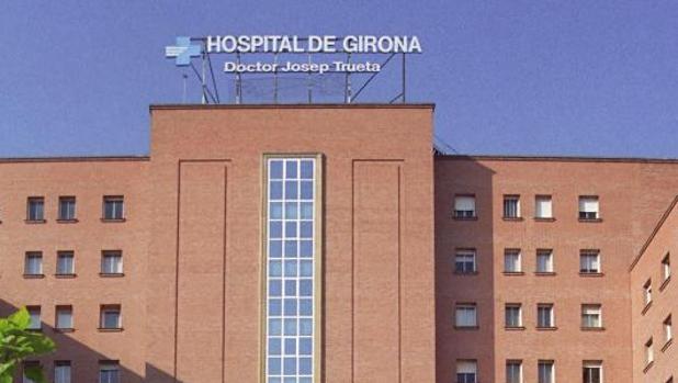 Detalle de la entrada del hospital de Gerona