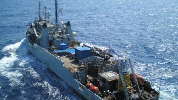 La Armada Española utilizó un cazaminas para encontrar el cuerpo del piloto fallecido
