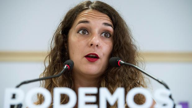 La portavoz de Podemos, Noelia Vera, hoy en Madrid